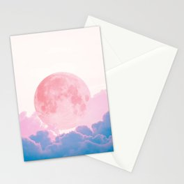 Moon over the cotton cloud Stationery Cards