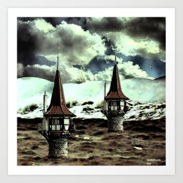 Lighthouses at sea Art Print