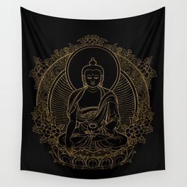 Buddha on Black Wall Tapestry