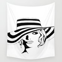 women Wall Tapestries featuring Lovely women by KASAMONART