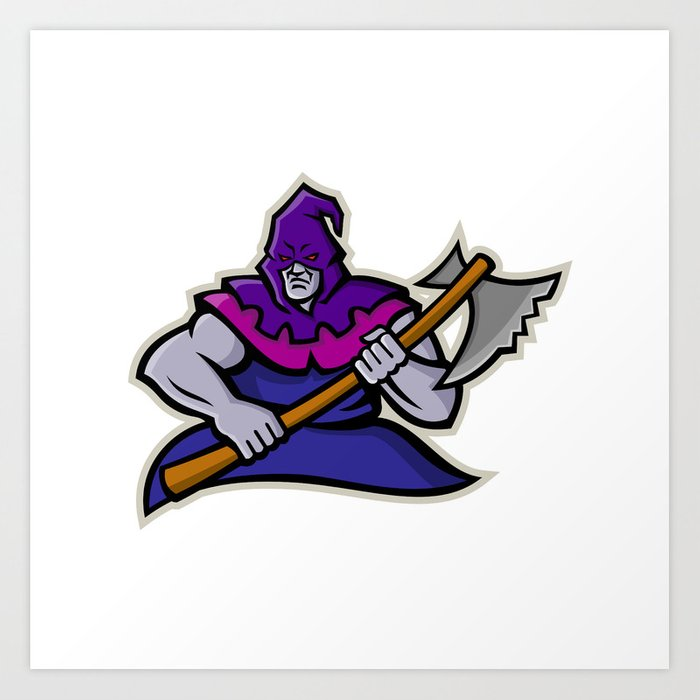 Hooded Medieval Executioner Mascot Art Print