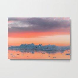 Surreal Iceberg during a bright orange Sunset Sky – Arctic Nature Photography Metal Print