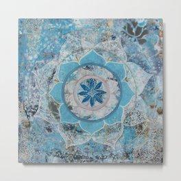 Ocean Blue Mandala Metal Print
