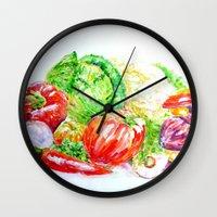 vegetables Wall Clocks featuring Vegetables by LiliyaChernaya