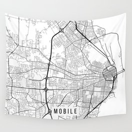 Mobile Map, Alabama USA - Black & White Portrait Wall Tapestry
