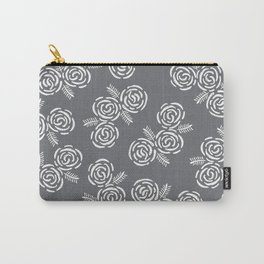Floral Gray Carry-All Pouch