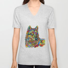 Colorful Psychedelic Rainbow Wolf Unisex V-Neck