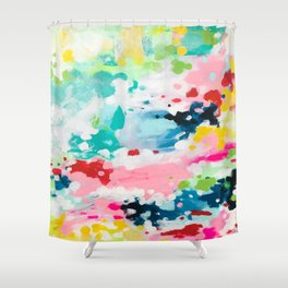 Colorful Fantasy Neon Rainbow Abstract Art Acrylic Painting Fluffy Pastel Clouds by Ejaaz Haniff Shower Curtain