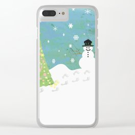 Snowman on Christmas Day Clear iPhone Case