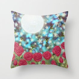 the moon, stars, fireflies, & roses Throw Pillow