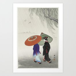 Two women in the rain (1925 - 1936) by Ohara Koson (1877-1945) - Japanese art Art Print