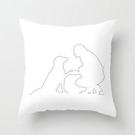Girls best Friend is her dog - Minimalist line art Throw Pillow