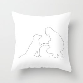 Girls best Friend is her dog - Minimalist line art Throw Pillow