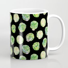 Brussel Sprouts Pattern Black Coffee Mug