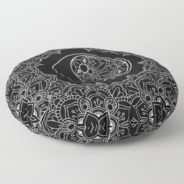 Yin yang symbol in Black and white lace ornament Floor Pillow