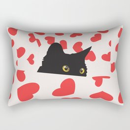 Black Cat Hiding in the Hearts Rectangular Pillow