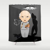 pablo picasso Shower Curtains featuring Kokeshi artist Pablo Picasso by Pendientera