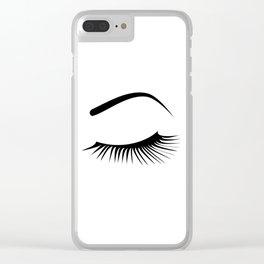 Closed Eyelashes Left Eye Clear iPhone Case