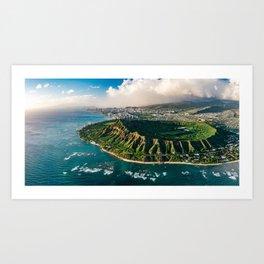 Diamond Head Aerial Panoramic Art Print