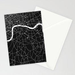 London Black on White Street Map Stationery Cards