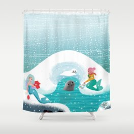 Mermaids having a picnic by a Norppa seal's nest and helping take care of her baby Shower Curtain
