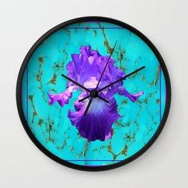 Amethyst Purple Iris Flower on Turquoise Stone Design Wall Clock