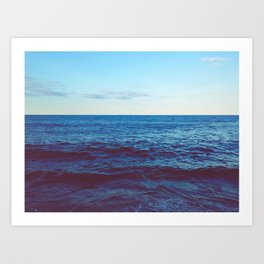 Minimalist Blue Waters Ocean Horizon Landscape Art Print
