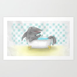 Shark bath Art Print