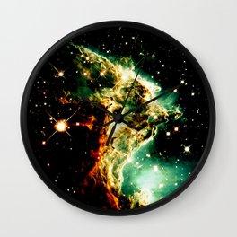 Monkey Head Nebula GalaXy Golden Green Wall Clock