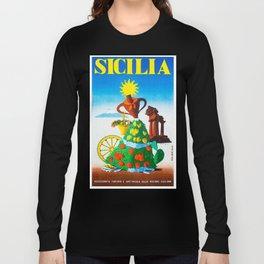 Vintage Sicilia Italia - Sicily Italy Travel Long Sleeve T-shirt