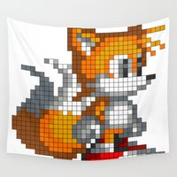 8 bit Wall Tapestries featuring 8 - Bit Tails by pwdarkfenix