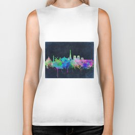 Paris skyline waterolor 2 Biker Tank