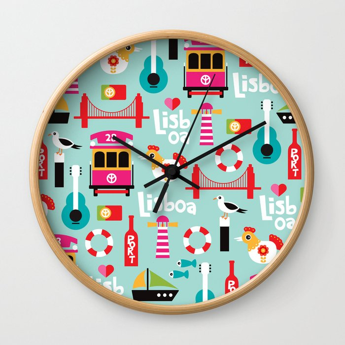 Lisbon - Lisboa Portugal travel icons souvenir illustration print Wall Clock