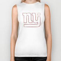 new jersey Biker Tanks featuring New Jersey Football Giants by CS_Kennedy