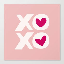 XOXO in Pink and White with Raspberry Heart Canvas Print