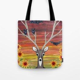 white tailed deer, bats, black eyed susans Tote Bag
