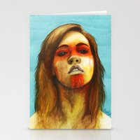 megan lara Stationery Cards featuring Megan by Alice Teal