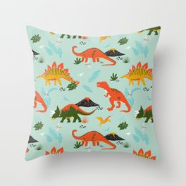 Jurassic Dinosaurs in Blue + Red Throw Pillow