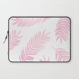 Pink Palm Leaves  |  White Background Laptop Sleeve