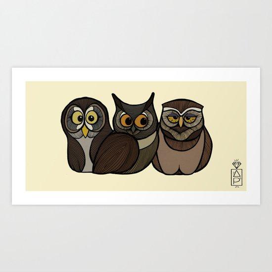 Three little Owls Art Print