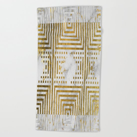 Marble and Gold Pattern #2 Beach Towel
