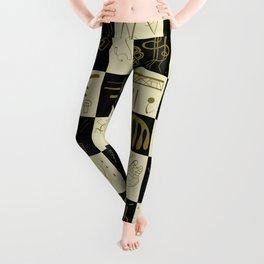 Kandinsky - Black and Gold Pattern - Abstract Art Leggings