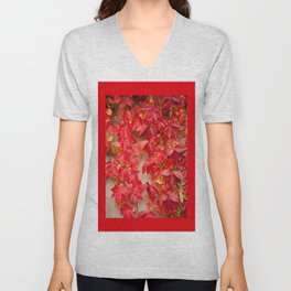 Vitaceae ivy wall abstract Unisex V-Neck