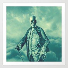 Lord Bonehead VINTAGE GREEN / Skeleton portrait Art Print