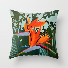 Strelitzia - Bird of Paradise Throw Pillow