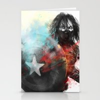 winter soldier Stationery Cards featuring Winter Soldier by Alba Palacio