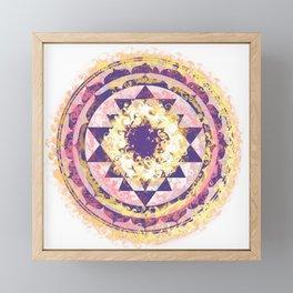 Golden Fire Sri Yantra Framed Mini Art Print