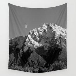 Moon Over Pioneer Peak B&W Wall Tapestry