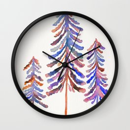 Pine Trees – 90s Color Palette Wall Clock