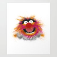 muppets Art Prints featuring Animal, The Muppets by KitschyPopShop